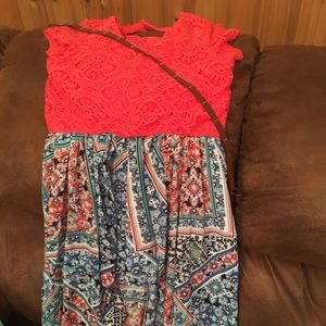 Xtraordinary coral lacy top with multicolored